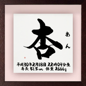 命名書 立体タイプ Lサイズ ブラウン(31)杏